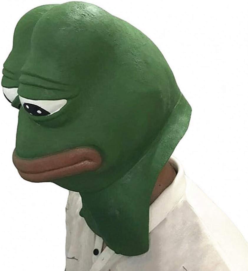 GAJSDJHN Mask Realistic Rubber Animal Pepe Frog Latex Mask Comic Frog Troll Face Halloween Mask