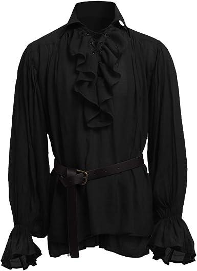 MoneRffi Hombres Camisa Medieval Victoriano Camisa Volante Medieval Camisa Camiseta de Manga Larga Top Cosplay Rendimiento Top: MoneRffi: Amazon.es: Ropa y accesorios