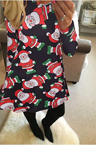 abbf6dcd4541 Honghu Damen Langarm Weihnachtsdrucke Kleider,Casual Geschenke Glocken  Schneemann Weihnachten Bedruckt Aufgeweitet Swing Oberteil Christmas ...