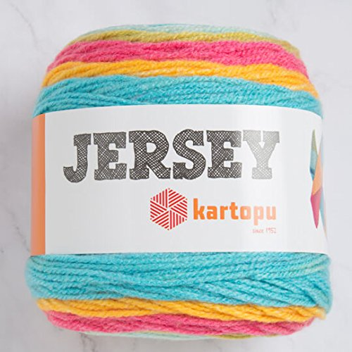 Kartopu Jersey Multi-Colored Cake Yarn 7.1 Oz (200g) / 394 Yrds (360m) Soft, Medium-Worsted Wool Yarn, 20% Turkish Wool - H1630
