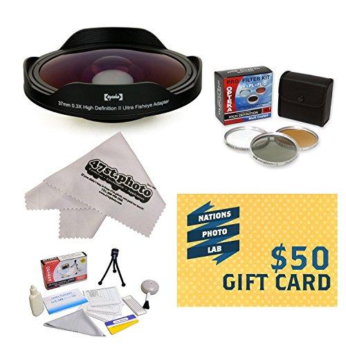 Opteka Platinum Series 0.3X HD Ultra Fisheye Lens for Sony DCR-DVD650, SR68, SR88, SX63, SX83, SX85 - Includes Bonus 3 Piece Filter Kit (UV, CPL, FLD) + Deluxe Lens Cleaning Kit + LCD Screen Protectors + Mini Tripod + 47stphoto Microfiber Cloth Photo Print !
