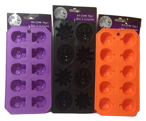 Halloween Flexible Silicone Ice Cube Mold Trays (Set Of 3) Skulls Spiders Pumpkins -