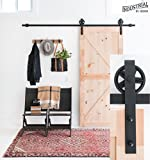 8-Foot Big Wheel Sliding Barn Door Hardware Kit (Black) ▫ Includes Easy Step-By-Step Installation Video ▫ One-Piece Rail, Industrial Spoke Wheel ▫ Ultra Quiet, Tested Beyond 100,000 Rolls