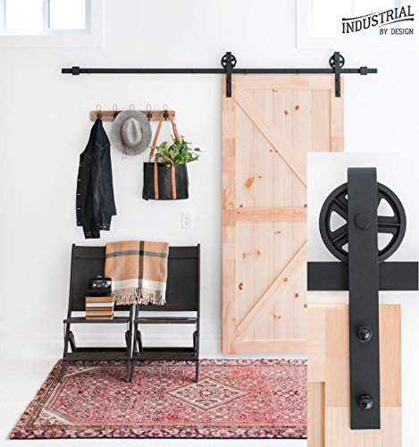 (Industrial By Design - 8-Foot Big Wheel Sliding Barn Door Hardware Kit (Black) - Step-by-Step Installation Video - Ultra Quiet - One-Piece Rail, Industrial Spoke Wheel)