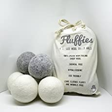 FLUFFIES comes in a set of 6 XL size Wool Balls, 4 White and 2 Grey 100% Premium New Zealand wool.We have superior and different wool balls because:  • Our wool balls are a quality product - they will not shed white wool fibres on your dark clothing ...