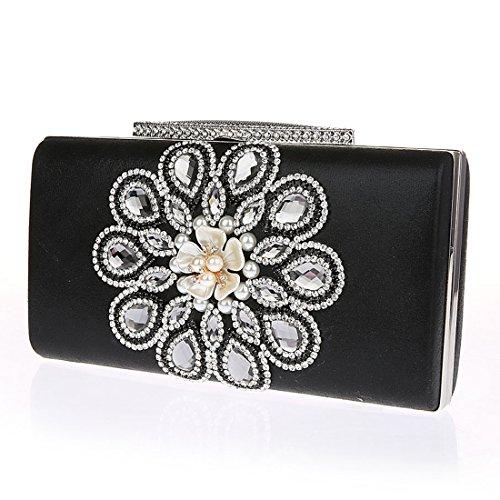 KAXIDY Handbags Flowers Evening Clutch Bags Sequin Wedding Bridal Prom Party Purse Clutches Bags (Black): Handbags: Amazon.com
