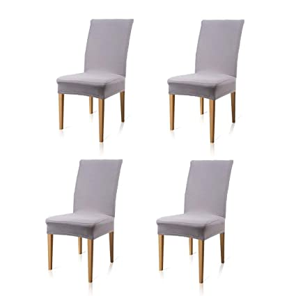 Tovee 4 Pcs Removable Stretch Dining Chair Covers Slipcovers With Elastic Band Universal Fitting