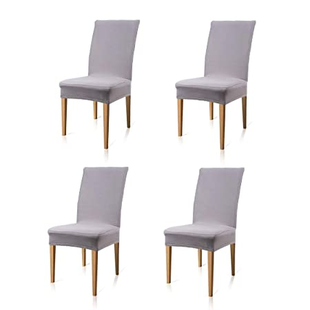 tovee 4 pcs removable stretch dining chair covers slipcovers with rh amazon co uk Wedding Chair Bands Orchestra Chair