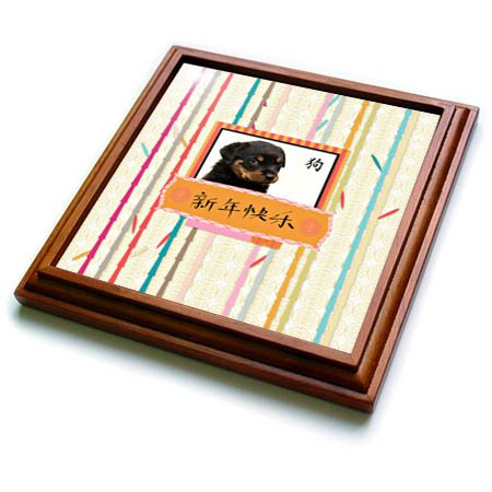 3drose Beverly Turner Chinese New Year Design - Rottweiler Puppy, Colorful Bamboo Frame, Happy New Year, Dog Chinese - 8x8 Trivet With 6x6 Ceramic Tile (trv_274430_1) Picture