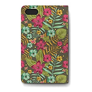 Leather Folio Phone Case For Apple iPhone 4/4S Leather Folio - Retro Hawaii Blooms Leather Back