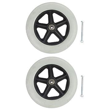 2 ruedas de repuesto para silla de ruedas delanteras Cuticate, duraderas, resistentes al desgaste, de 8 pulgadas: Amazon.es: Salud y cuidado personal