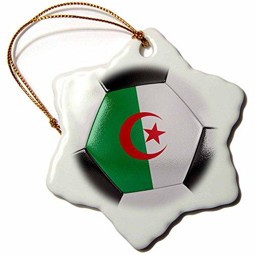 3dRose orn_181207_1 Algeria Soccer Ball Snowflake Ornament, Porcelain, 3-Inch by 3dRose