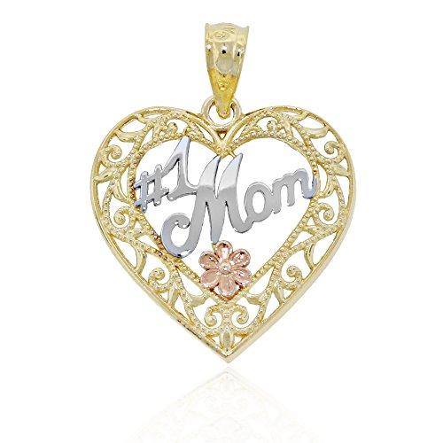 Charm America Gold #1 Mom Inside Heart Charm - 14 Karat Solid Gold