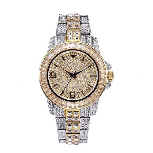 Majinz Store Diamond Bangle Bracelet Men's Watches Men Baguette Diamond Watch Men Luxury Brand Man Watch 18K Gold Waterproof Watch Quartz - Baguette Quartz