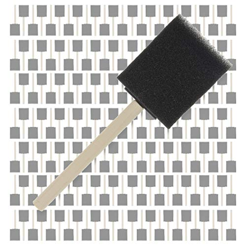 US Art Supply 2 inch Foam Sponge Wood Handle Paint Brush Set (Full Case of 480 Brushes) - Lightweight, Durable and Great for Acrylics, Stains, Varnishes, Crafts, Art