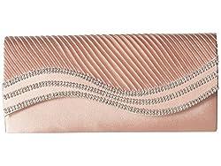 Jessica McClintock Karen Satin Wave Stone Clutch Dusty Rose Clutch Handbags