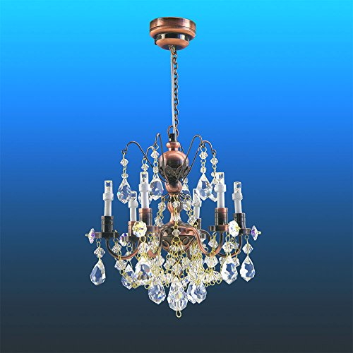 Crystal Copper chandeliers, 6 arms, LED Super bright On/off switch dollhouse miniature 1:12 scale by miniLAND - The Center for Hand Crafted Miniatures