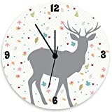Deer Wall Clock, Girls Wall Clock with Grey Deer, Light Gray Diagonal Stripes and Roses At Backgroubd