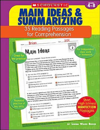 35 Reading Passages for Comprehension: Main Ideas & Summarizing - Main Idea Comprehension Book