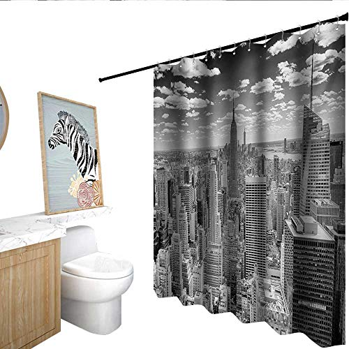 (homecoco New York Floral Shower Curtain NYC Over Manhattan from Top of Skyscrapers Urban Global Culture Artful City Panorama Metal Build Grey)