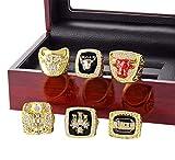 HTEGAE Mens Gold Chicago Bulls Jordan Diamond Championship Set Rings,Size 12