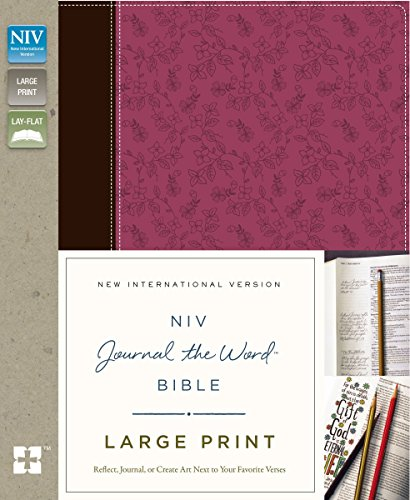 NIV, Journal the Word Bible, Large Print, Imitation Leather, Pink/Brown: Reflect, Journal, or Create Art Next to Your Favorite Verses