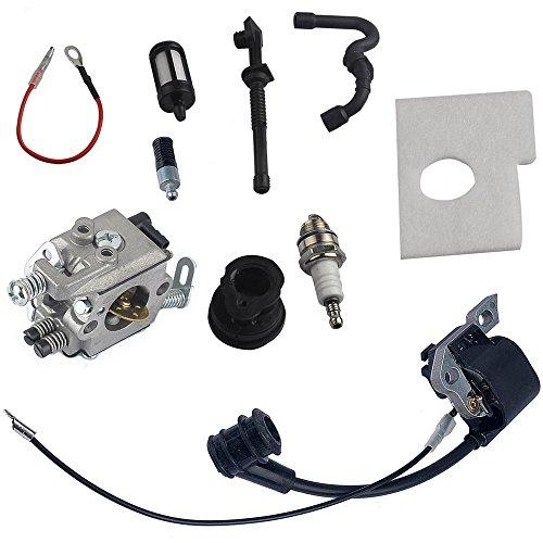 Savior Carburetor + Ignition Coil + Intake Manifold + Air Filter + Fuel Line + Fuel Filter + Oil Line + Oil Filter + Spark Plug for Stihl 017 018 MS170 MS180 Chainsaw