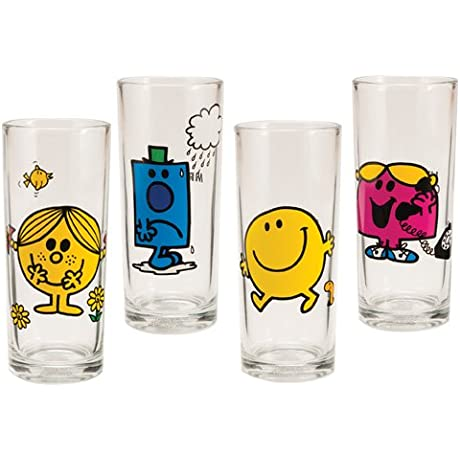 Vandor 44002 Mr Men Little Miss 4 Pc 10 Oz Glass Set Multicolor