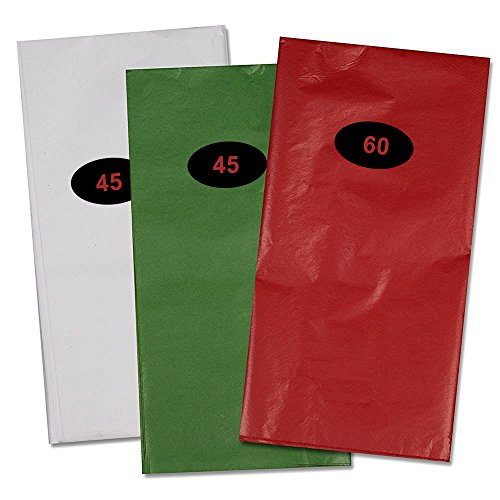 "150 Christmas Tissue Paper Assortment; 60 Red, 45 Green & 45 White; 20"" X 20"" by Gift Boutique"