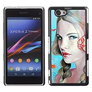 Qstar Arte & diseño plástico duro Fundas Cover Cubre Hard Case Cover para Sony Xperia Z1 Compact / Z1 Mini / D5503 ( Blonde Woman Sexy Red Lips Blue Eyes)