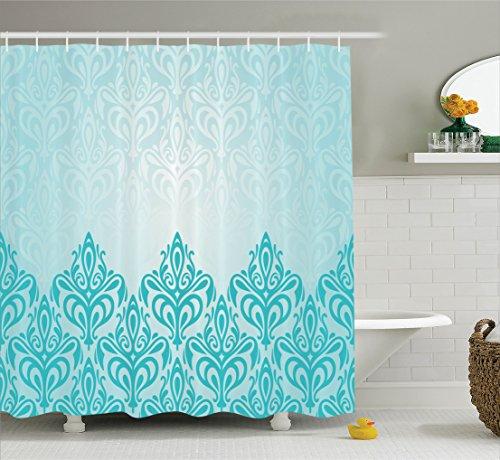 Ambesonne Turquoise Decor Shower Curtain Set, Decorative Retro Medieval European Victorian Gradient Royal Pale Patterns Artwork Print, Bathroom Accessories, 69W X 70L Inches, (Victorian Bathroom Accessories)