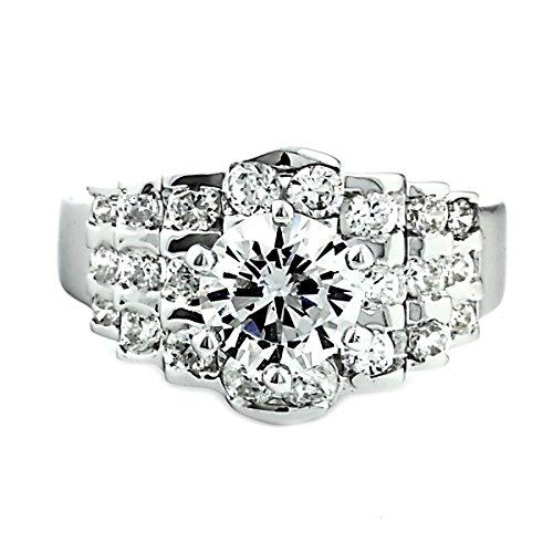 1.25 Carat Round Brilliant Cubic Zirconia Silver Wedding Ring - 5