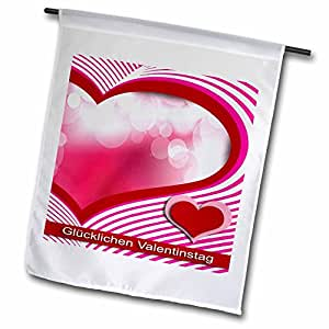 Beverly Turner Valentine Design - Happy Valentines Day in German, Hearts and Bubbles - 18 x 27 inch Garden Flag (fl_40373_2)