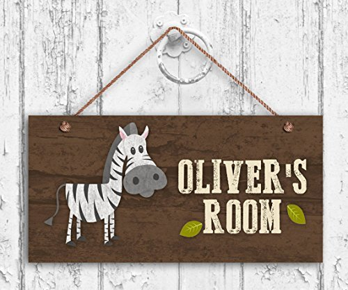 Zebra Sign Personalized Sign Kid's Name Kids Door Sign Baby Nursery Safari 5 x 10 Wood Plank Hanging Sign Plaque Decor Funny Gifts Sign