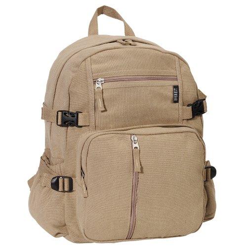 Everest Luggage Canvas Backpack Khaki, Khaki, One Size