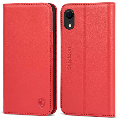 SHIELDON iPhone XR Case, Genuine Leather iPhone XR Wallet Folio Protective Case Book Design with Kickstand and RFID Credit Card Slots Magnetic Closure Compatible with iPhone XR (2018 Release) - Red (Best Iphone Folio Case)