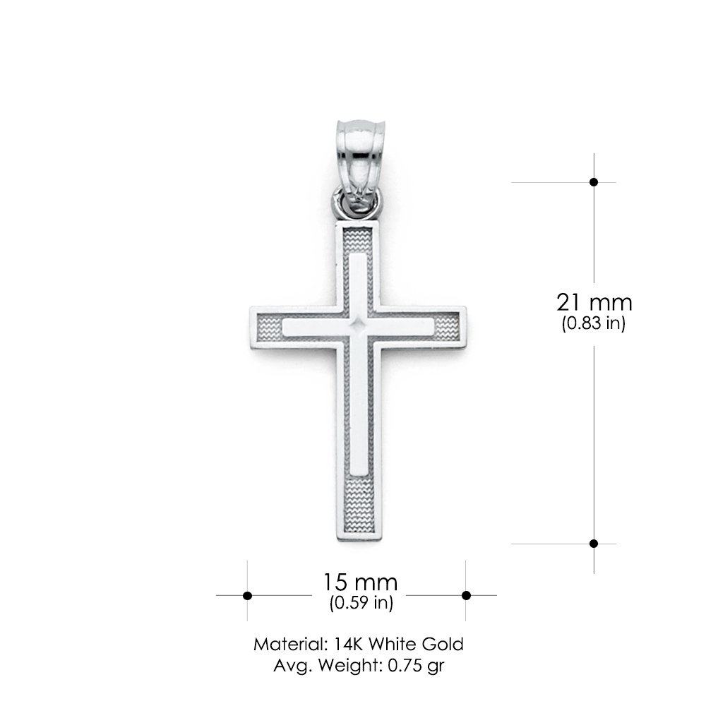 14K White Gold Cross Charm Pendant with 0.9mm Wheat Chain Necklace