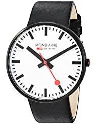 Mondaine SBB Quartz Stainless Steel and Leather Casual Watch, Color:Black (Model: A660.30328.61SBB)
