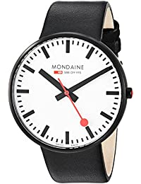 'SBB' Quartz Stainless Steel and Leather Casual Watch, Color:Black (Model: A660.30328.61SBB)