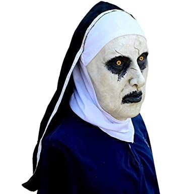 amazoncom labeol halloween props the conjuring 2 devil nun horror masks white clothing
