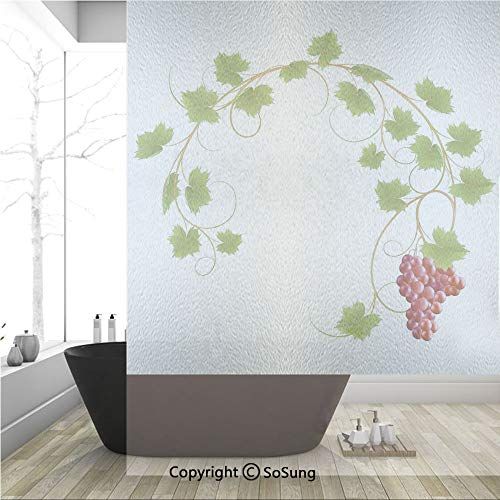 3D Decorative Privacy Window Films,Curved Ivy Branch Deciduous Woody Wines Seed Clusters Cabernet Kitchen,No-Glue Self Static Cling Glass Film for Home Bedroom Bathroom Kitchen Office 36x48 Inch