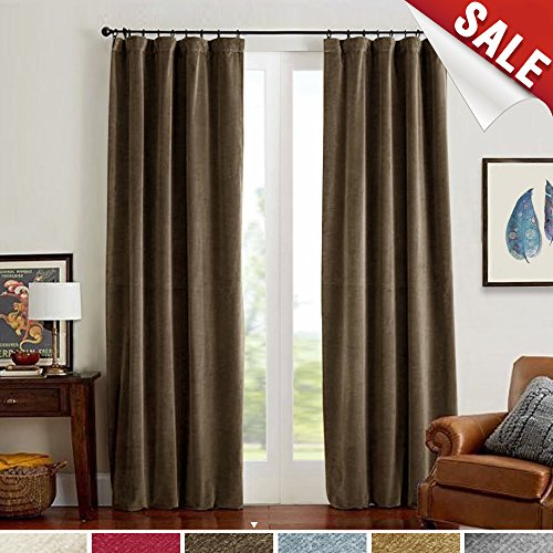 Blackout Panels, Room Darkening Drapes for Bedroom Window Curtain Rod Pocket (1 Panel, 84 Inch, Brown) (Velvet Panel)