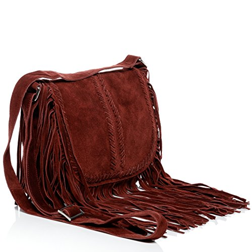 BACCINI bag blue frings shoulder small women`s Bordeaux leather bag with handbag SARAH RpRqr