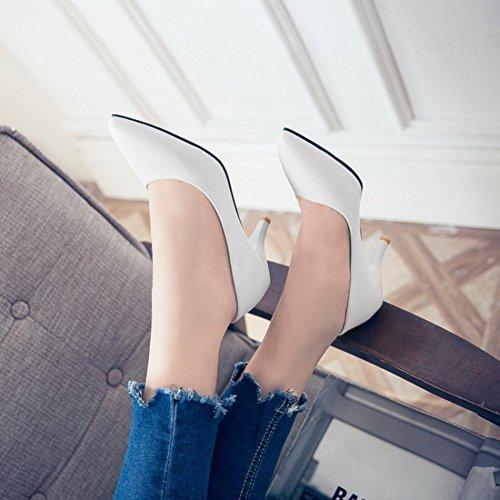 Aisun Damen Basic Kunstleder Spitz Zehen Low Top Kitten Heel Business Arbeit Pumps Weiß
