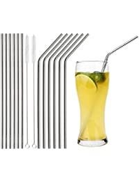 Favor 12 PCS Stainless Steel Drinking Straws - Bent and Straight Reusable Beverage Straws 10.5