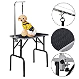 Marketworldcup - New 32'' Adjustable Pet Dog Cat Grooming Table Top Foam Solid construction and sturdy table Rubber Mat
