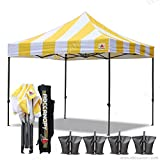 ABCCANOPY Deluxe 10×10 Ez Pop Up Canopy Carnival Canopy Popcorn Cotton Candy Vending Tent (stripe gold/white) For Sale