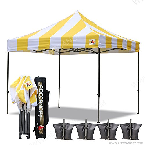 ABCCANOPY Deluxe 10×10 Ez Pop Up Canopy Carnival Canopy Popcorn Cotton Candy Vending Tent (stripe gold/white)