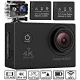 Pruveeo DV200 Waterproof Sports Action Camera with WiFi, 4K Video Camcorders, 170 degree angle with SONY Sensor, 25 Accessories Kits, 2 pcs Rechargeable Batteries