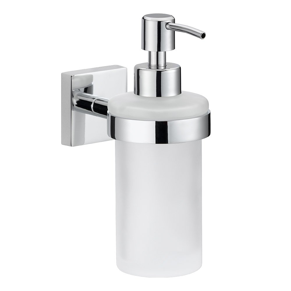 nie wieder bohren. EKKRO soap Dispenser EK412, 7x12.5x12.5 (LxWxH in cm), Chrome-Plated, incl Never Drill Again Fastening Technology